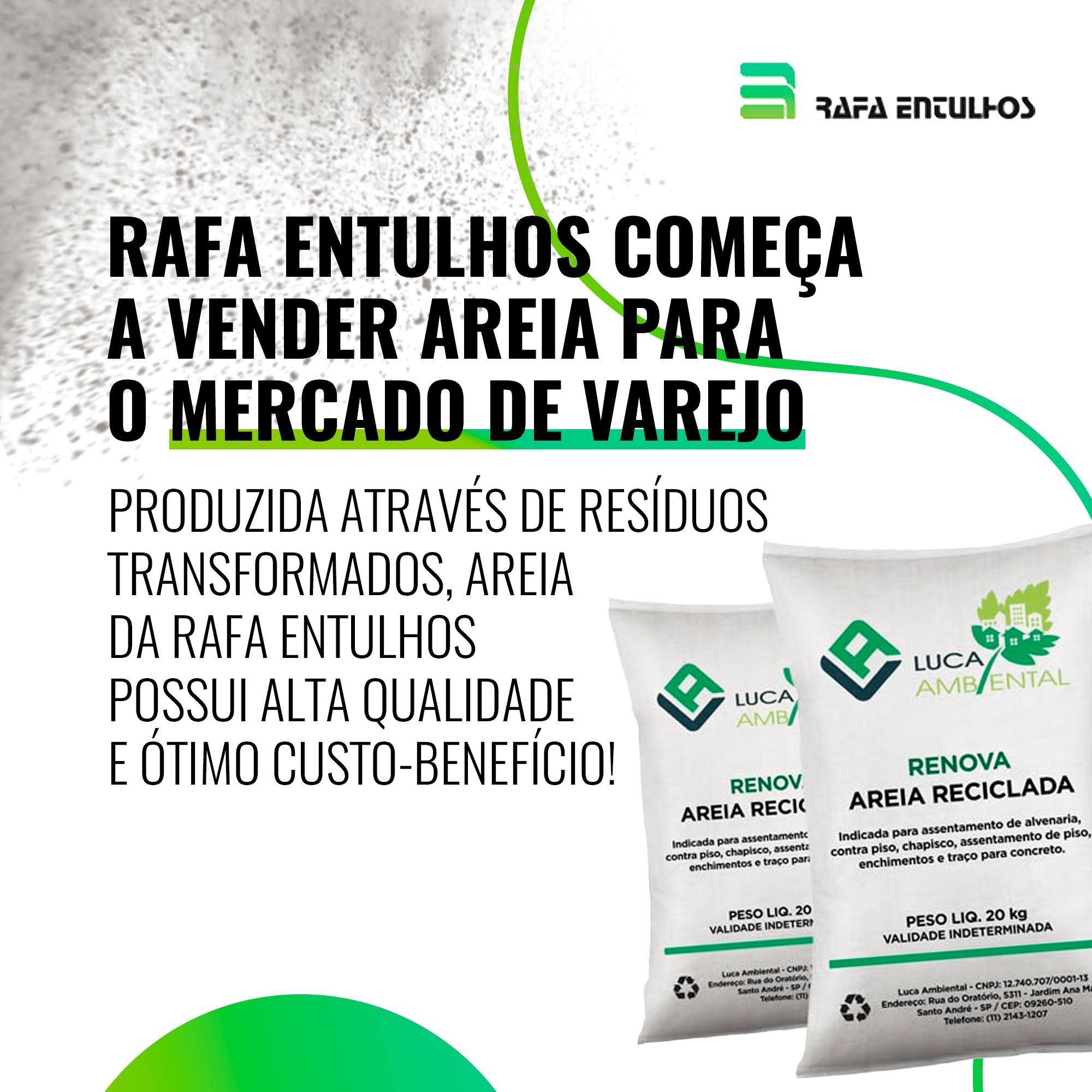 Rafa Entulhos começa a vender areia para o mercado de varejo